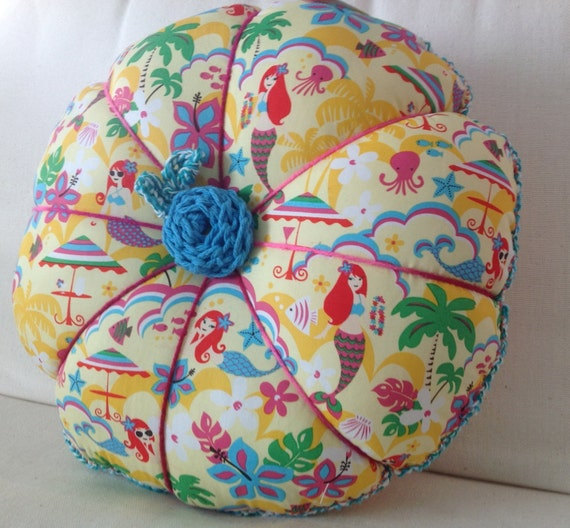 Round Blue Decorative Pillows : Pillow Round Throw Pillow Yellow Mermaid Print by artteryandstitch