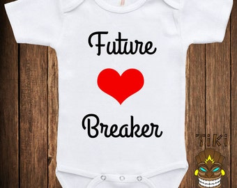 Bodysuit Baby Child Infant One-piece Romper One Piece Future Heart Breaker Funny Fun Awesome Chick Magnet Joke Stud Cute