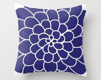 Modern Succulent Flower Throw Pillow Cover - Cobalt Blue - Abstract Flower Decorative Pillow - Home Decor - By Aldari Home