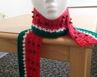 Crochet Textured Watermelon Scarf