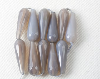 Natural Agate Drop Beads Faceted Undyed gorgeous transluscent lavender grey beads