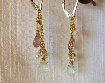 Pink and Green Tourmaline 14K Gold Filled Handmade Earrings