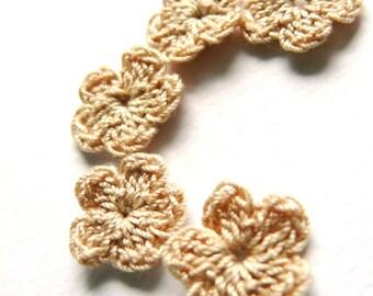 Crochet flower applique, 15 crochet mini flowers embellishments,cotton applique,linen flower,Shabby chic,Scrapbooking,crochet ornament,cards