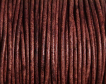 1.5mm Natural Red Brown Leather Cord 2 Yards Distressed Brown