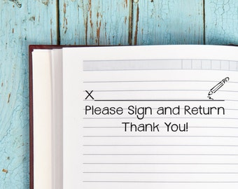Teacher Stamp Please Sign and Return