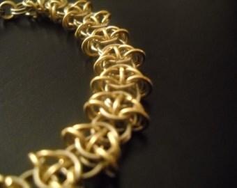 "Made to Order: 14k White & Yellow Gold Celtic Visions Bracelet 7 1/2"""
