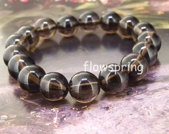 12mm Natural Smoky Crystal Quartz  Round Gemstone Bracelet Beaded  Bracelet