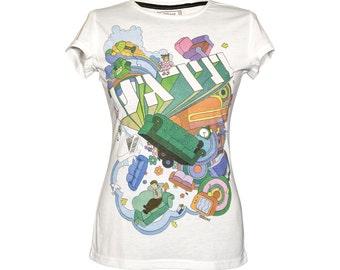 Women tshirt \ Music tshirt \ with sleeves \ Mika \ Relax \ White \ Cotton \ Sizes: S \ M \ L