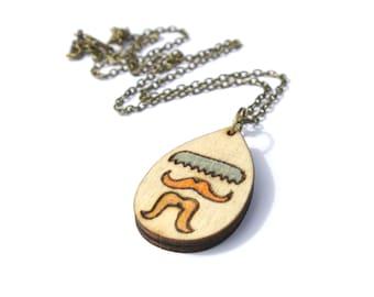 Mustache Jewelry - Mustache Necklace - Mustache Art - Pyrography Jewelry - Wood Burned - Wood Burned Jewelry