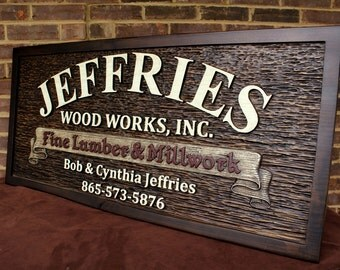 Custom Carved Business Sign Personalized Carved Sign Carved Wooden Sign Custom Wood Sign Custom Business Sign