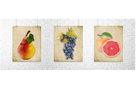 Items Similar To Rustic Fruit Prints Kitchen Wall Decor Kitchen Decor Fruit Prints Food Art