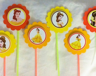 Belle - Beauty and the Beast cupcake toppers - Set of 12