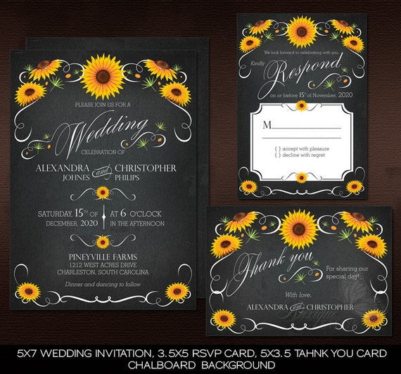 Sunflower Chalkboard Floral Vintage Wedding Suite - PRINTABLE DIY Wedding Invitation, RSVP & Thank You Card