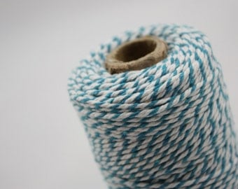 Bright Blue and White - Bakers Twine - craft twine - colored string - 110 yards - gift wrapping - scrapbooking - string - white and