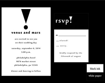 Black and White Wedding Invitation Set, DIY Wedding Invitation, Printable Invitation Set, Black and White, Fun Wedding Invite, Exclamation