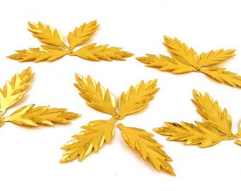 Leaf Sequins Large Gold Leaves Vintage Paillettes  Lot of 20