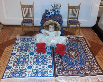 High Quality dollhouse furniture living room set lot Chrysnbon dressed chairs dressed table little girl doll teddy bears oriental rugs 1/12