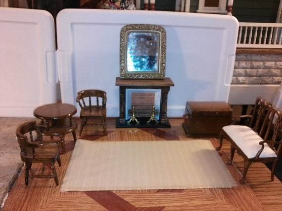 great quality dollhouse furniture living room set lot jbm settee couch