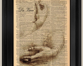 "Da Vinci Hands. Vintage book page art print. Print on book page.   Fits 8""x10"" frame."
