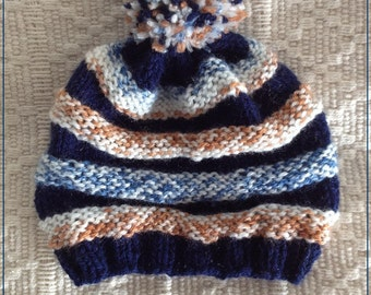 blue brown knitted pon pon Baby hat beanie