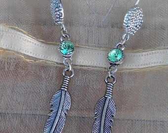 Green Swarovski crystal feather earrings