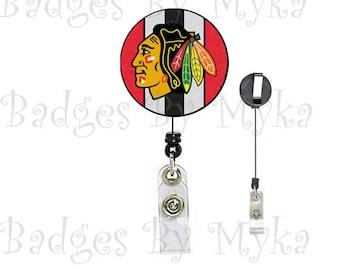 Retractable ID Badge Holder - Chicago Blackhawk
