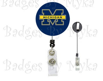 Retractable ID Badge Holder - Michigan University