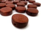 Rust Brown Wood Bead - Wood Beads - Rust Brown Bead - 16 inch Strand - 15 mm - Wooden Bead - Disc Bead - Wood Disc - Brown Disc