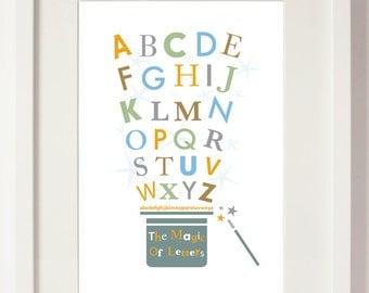 Nursery art print Magic letters