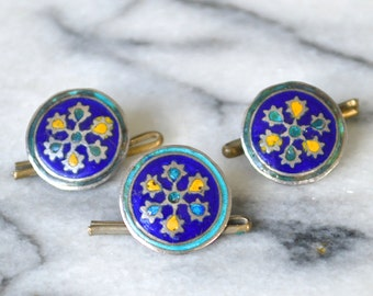 Antique Enamelled Shirt Studs - Round Buttons with Blue and Yellow Enamel Pattern - Set of 3 - Victorian Edwardian 1800s