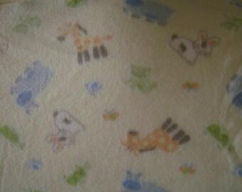 Yellow baby blanket with animals fleece blanket