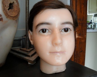 Antique wax mannequin head with glass eyes  **read listing before purchasing****