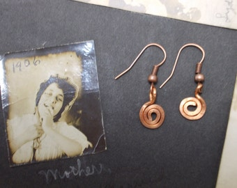 Hand Made Tiny Copper Wire Earrings - Spirals of Life - Tiny Statements of Large Joy
