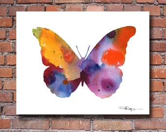 Butterfly Art Print - Abstract Watercolor Painting - Wall Decor