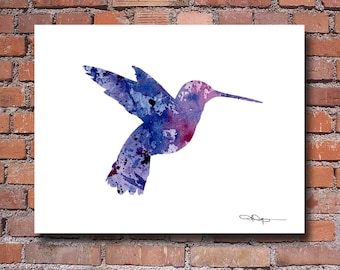 Purple Humming Bird Art Print - Abstract Watercolor Painting - Wall Decor