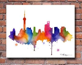 Shanghai Skyline - Watercolor Art Print - Wall Decor