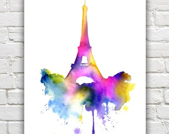 Eiffel Tower Art Print - Paris Abstract Watercolor - Wall Decor