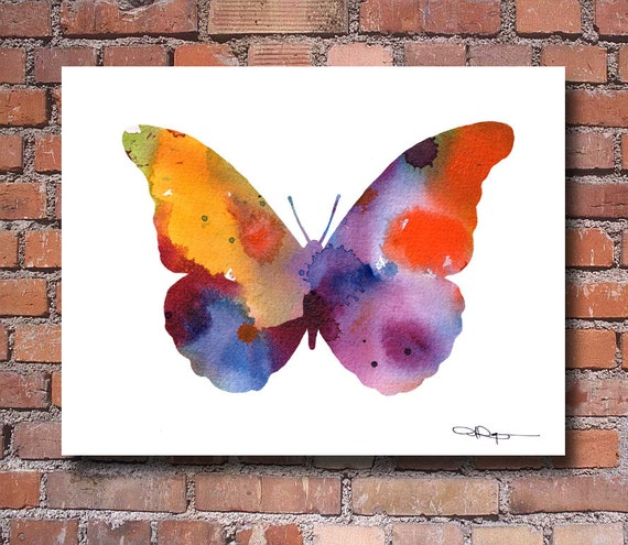 Butterfly Art Print Abstract Watercolor Painting Wall