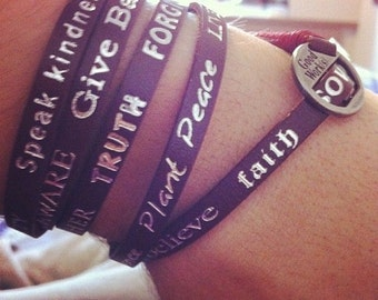 Leather Wrap Around Bracelet with Positive Messages - Magenta