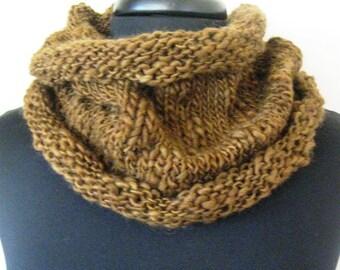 Coffee Brown Cowl, Hand Knit Cowl, Wool Cowl