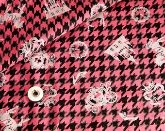 Pink/black kawaii Japanese cotton fabric 110x100cm, fairytale, cinderella