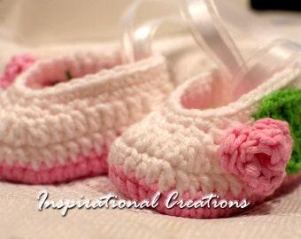Newborn Ballerina Slippers, Handmade Newborn Slippers, Crochet Newborn Slippers, White Newborn Slippers, Girls Ballerina Slippers