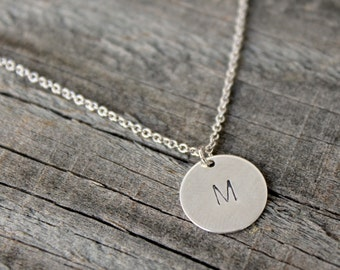 Mother's Day Gift, Silver Initial Necklace, Silver hand stamped initial necklace, Personalized necklace, Tiny initial necklace