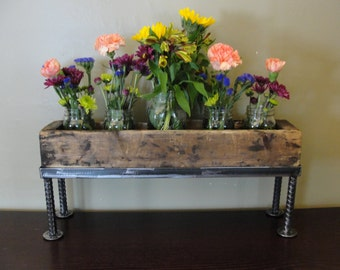 Reclaimed  wooden and metal centerpiece