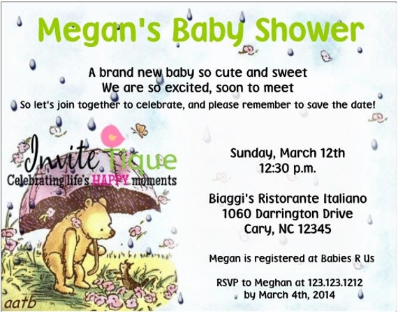 similar to classic winnie the pooh baby shower invitations on etsy