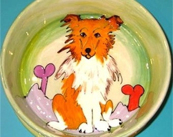 Hand Painted Collie Ceramic Dog Bowl