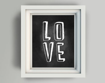 "Printable LOVE 8x10"" printable digital art file chalkboard"
