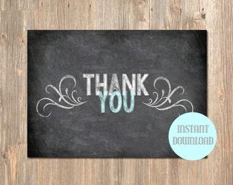 Chalkboard Thank You Card. Printable Thank You Card! Instant Download! Email Thank You Card. Print Your Own Custom Thank You Card! Thank You