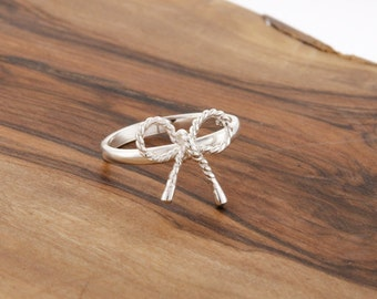 925 Sterling Silver Rope Bow Ring