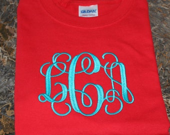 Monogrammed Short Sleeve Tee Shirt Size Extra Large----SALE--in Stock ONLY!